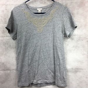 J. Crew Gray beaded T-shirt